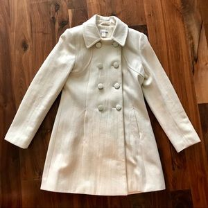 H&M Long Ivory Wool Blend Peacoat Size 8